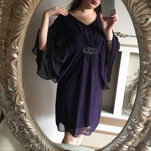 Connected Apparel dark purple above knee dress 8
